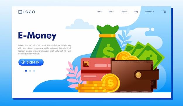 E-geldlandungsseitenwebsite-illustrationsvektor Premium Vektoren