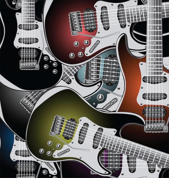 E-gitarren-hintergrund Premium Vektoren