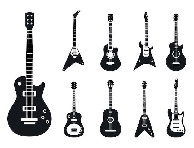 E-gitarren-ikonen eingestellt, einfache art Premium Vektoren