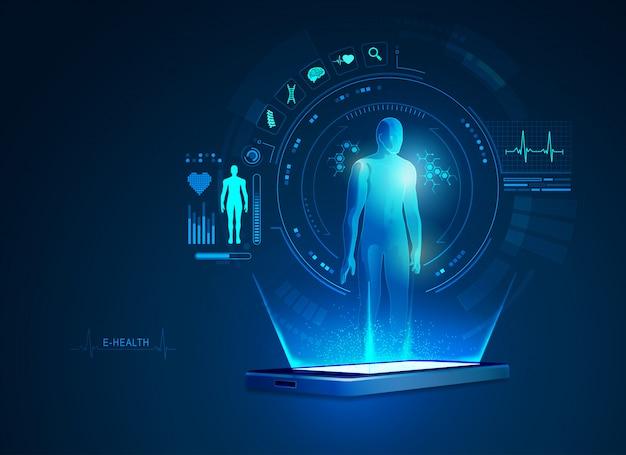 E-health- oder telemedizin-anwendung auf dem handy Premium Vektoren