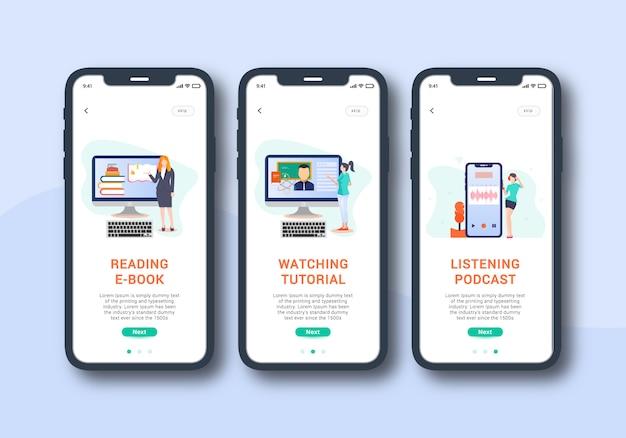 E learning app set von onboarding-bildschirm mobile benutzeroberfläche Premium Vektoren