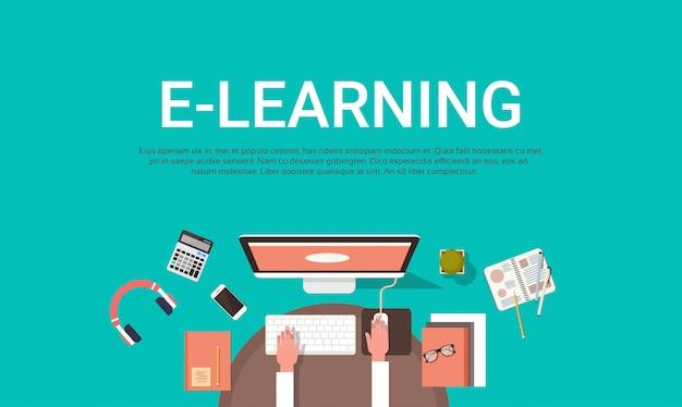 E Learning Bildung Online Und Hochschulbanner Mit Student