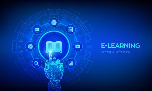 E-learning. innovative online-bildung und internet-technologie. roboterhand, die digitale schnittstelle berührt. Premium Vektoren