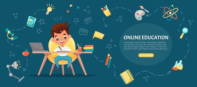 E-learning-konzept banner. online-bildung. netter schuljunge mit laptop. lernen sie zu hause mit handgezeichneten elementen. webkurse oder tutorials, lernsoftware. flache karikaturillustration Premium Vektoren
