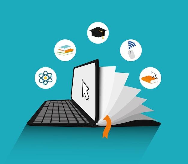 E-learning-konzept mit icon-design Premium Vektoren
