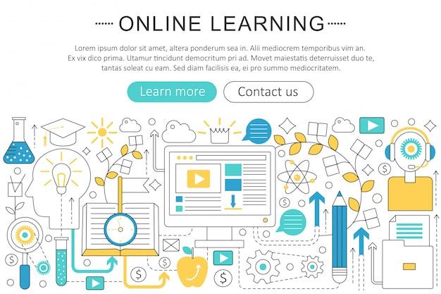 E-learning-online-bildungskonzept Premium Vektoren