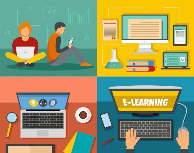 E-learning-training Premium Vektoren