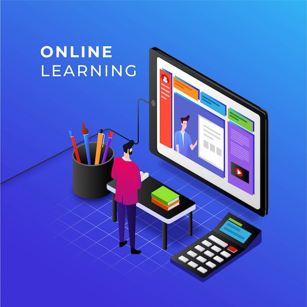 E-learning und online-kurse zur handyillustration für ein innovatives bildungskonzept Premium Vektoren