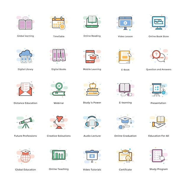 E-learning vektor icons pack Premium Vektoren