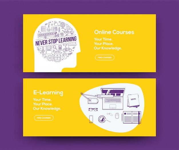 E-learning-web-banner für online-kurse website oder soziale netzwerk-seite festgelegt. . Premium Vektoren