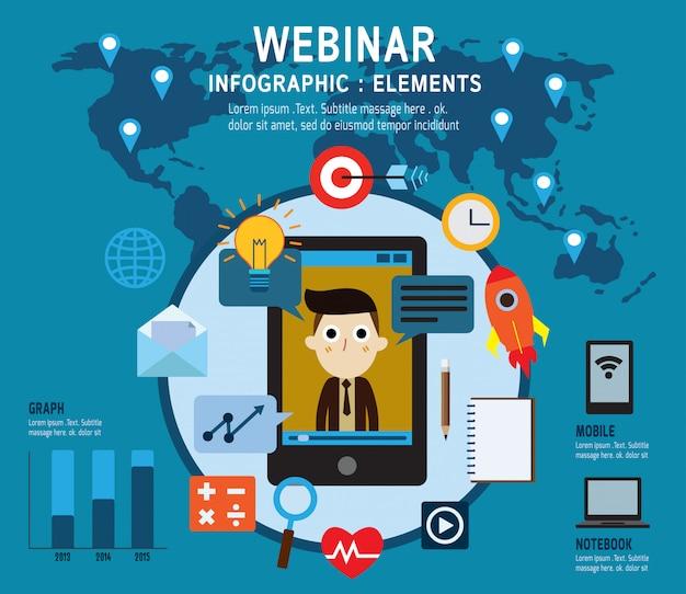 E-learning, webinar-elemente. online-lernen, professionelle vorlesungen im internet. Premium Vektoren