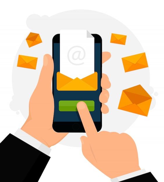 E-mail-benachrichtigung auf handyillustration Premium Vektoren
