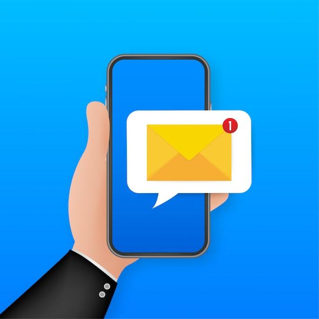 E-mail-benachrichtigungskonzept. neue e-mail auf dem smartphone-bildschirm. illustration. Premium Vektoren
