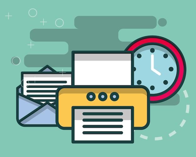 E-mail-brief drucker und uhrzeit büro Premium Vektoren