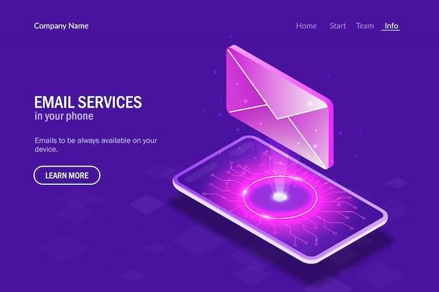 E-mail-dienste in ihrem telefon. hologrammbuchstabe auf dem hintergrund des smartphones Premium Vektoren