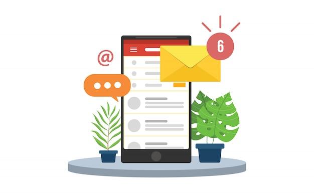 E-mail-handybenachrichtigungen mit smartphone- und umschlagsymbolen Premium Vektoren