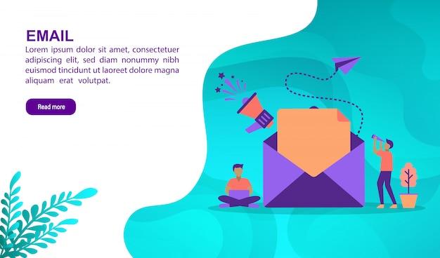 E-mail-illustrationskonzept mit charakter. zielseitenvorlage Premium Vektoren