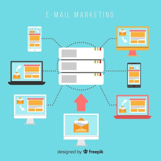 E-mail-marketing flachen hintergrund Kostenlosen Vektoren