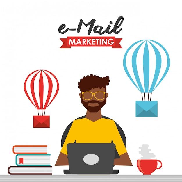 E-mail-marketing-illustration Kostenlosen Vektoren