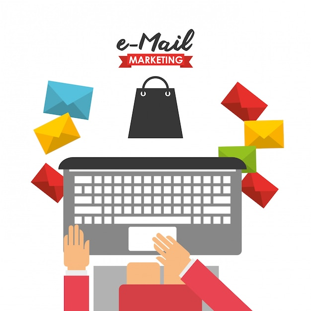 E-mail-marketing-illustration Kostenlosen Vektoren