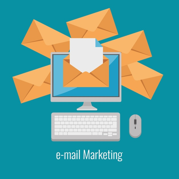 E-mail-marketing-internet-werbung Premium Vektoren