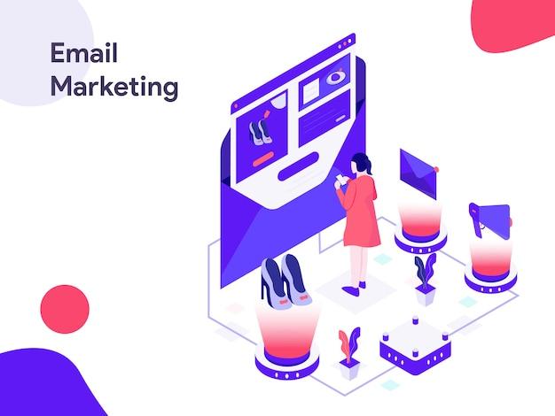 E-mail-marketing-isometrische illustration Premium Vektoren