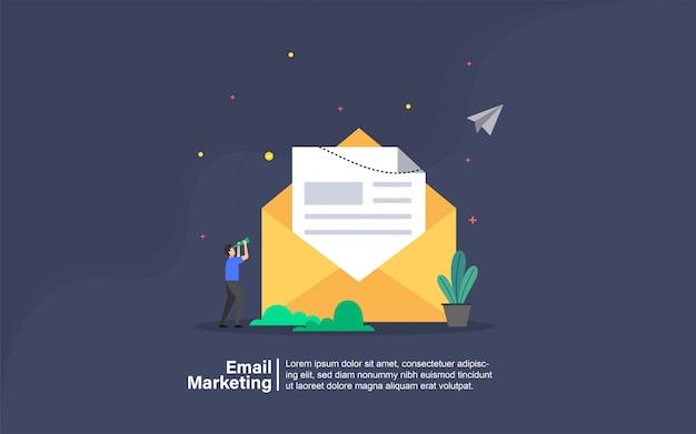 E-mail-marketing mit leutecharakterfahne Premium Vektoren