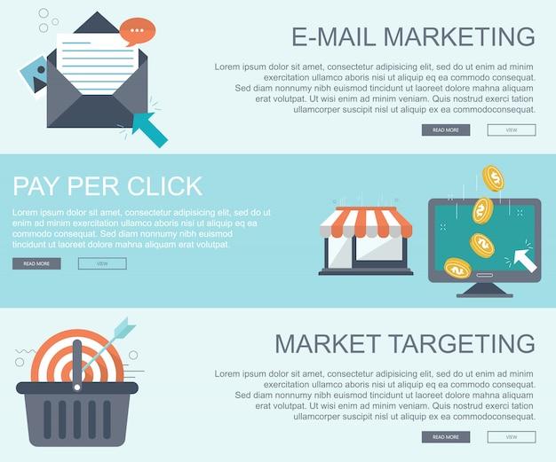 E-mail-marketing, pay-per-click und targeting-banner für den markt Premium Vektoren