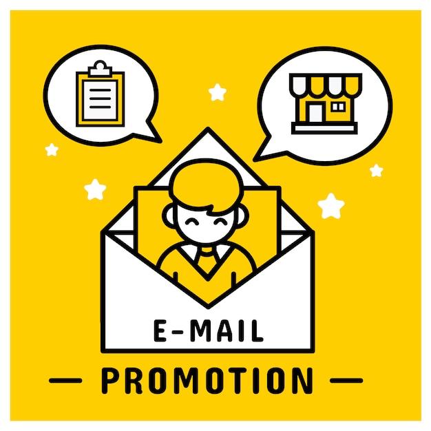 E-mail-marketing-promotion an kunden senden. Premium Vektoren
