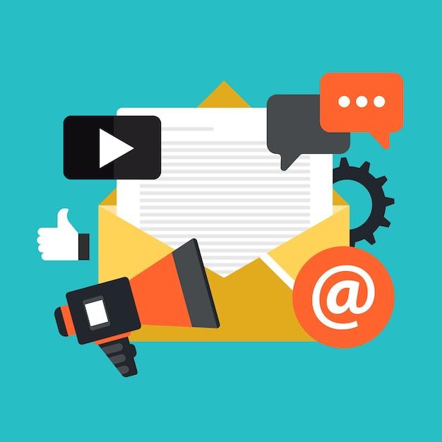 E-mail-marketing und newsletter Premium Vektoren