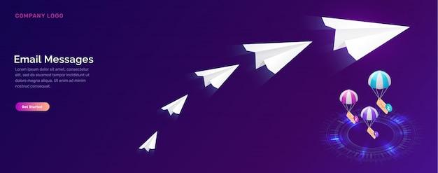 E-mail-nachrichtendienst, isometrisches marketingkonzept Kostenlosen Vektoren