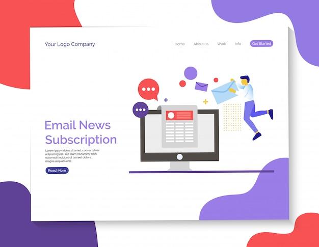 E-mail-news und abo-seite Premium Vektoren