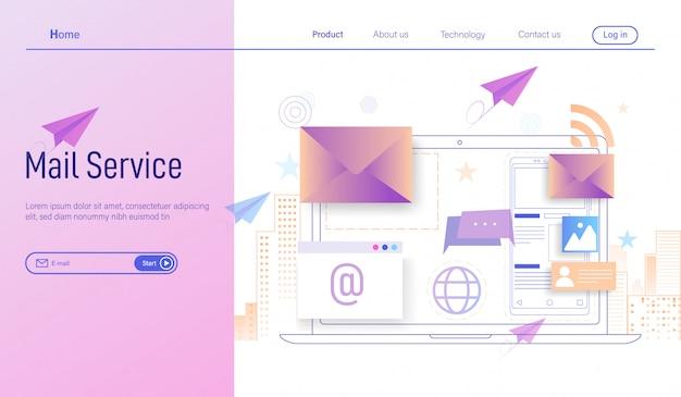 E-mail oder e-mail-dienste und geschäftliches e-mail-marketing Premium Vektoren