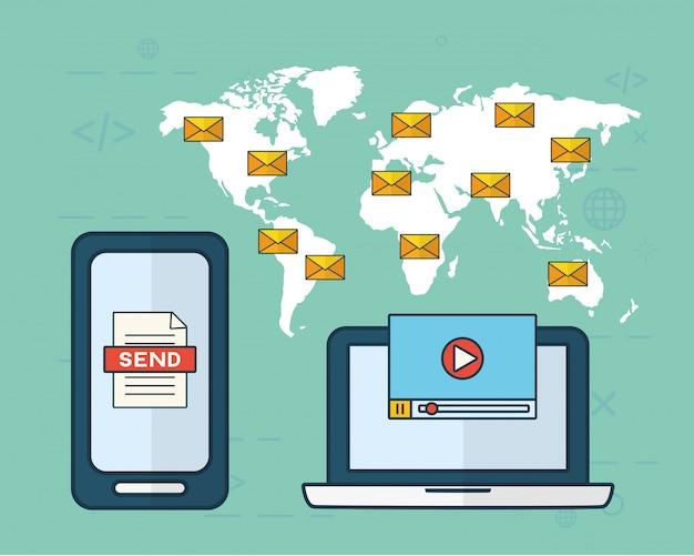 E-mail senden konzept Kostenlosen Vektoren