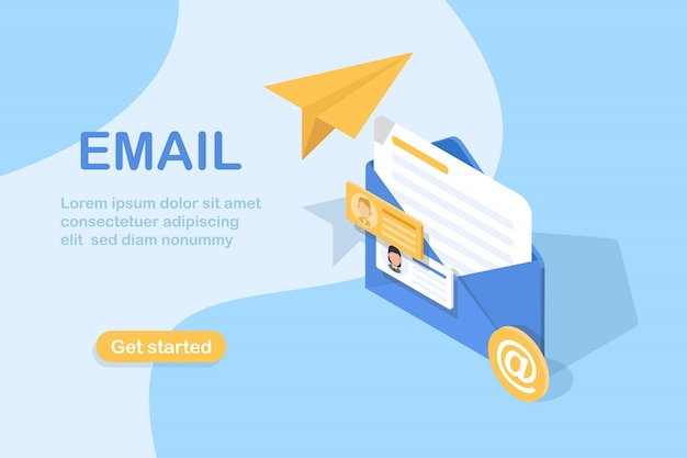 E-mail und messaging, e-mail-marketingkampagne Premium Vektoren