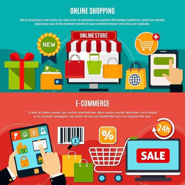 E-shopping horizontale banner Kostenlosen Vektoren