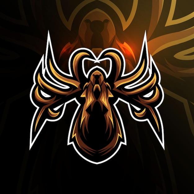 E-sport-design des kopfspinnen-maskottchen-logos Premium Vektoren