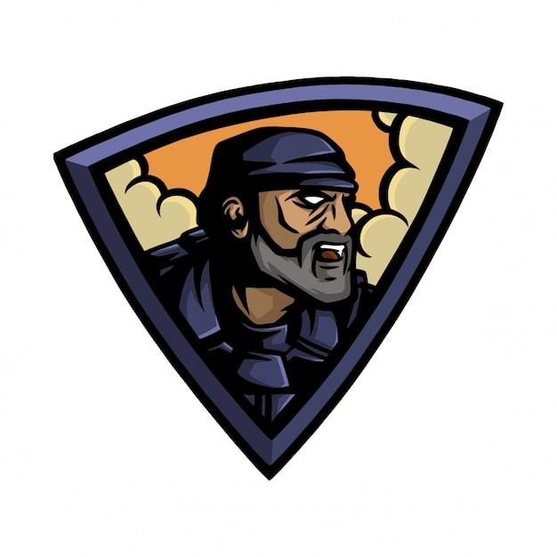 E sport logo zukünftiger soldat Premium Vektoren