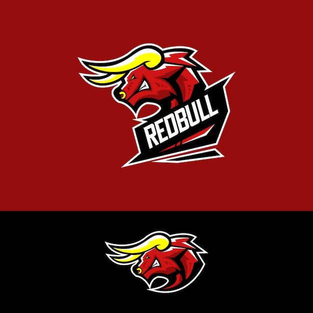 E-sport-team-logo mit red bull Premium Vektoren