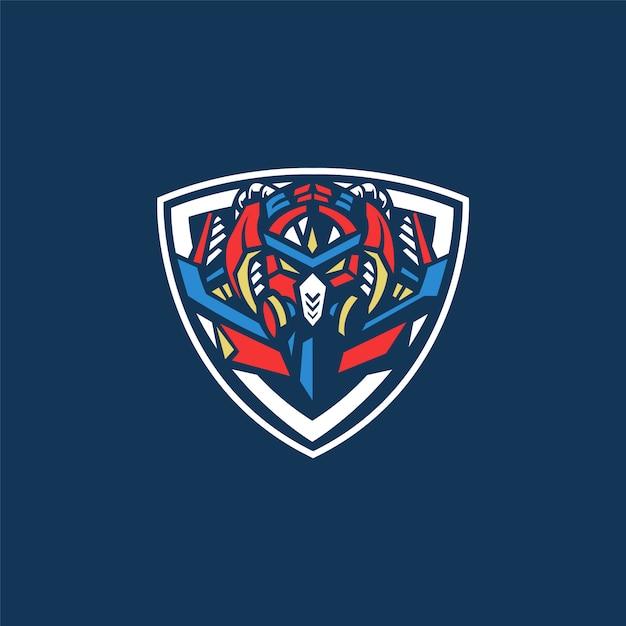 E-sport team logo mit roboter Premium Vektoren