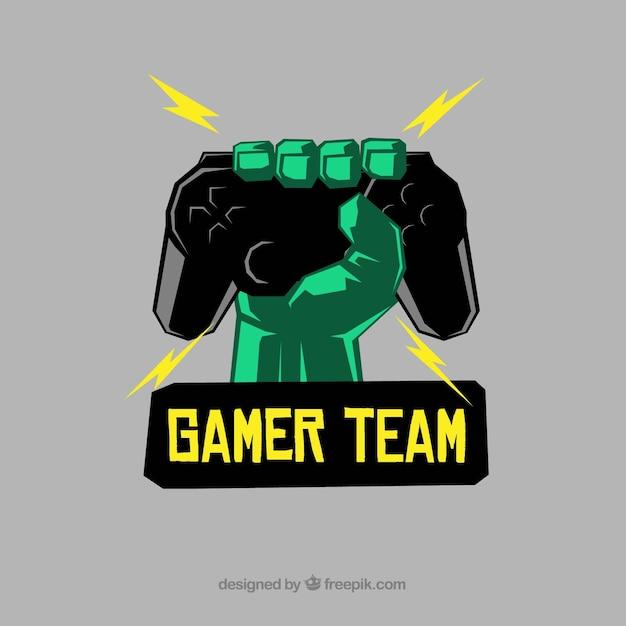 E-sport-team-logo-vorlage mit der hand mit joystick Kostenlosen Vektoren