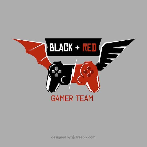 E-sport-team-logo-vorlage mit joystick und flügeln Kostenlosen Vektoren