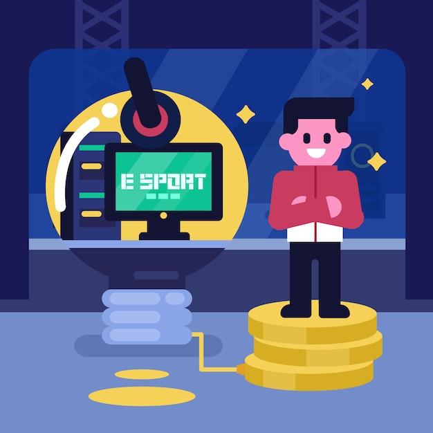 E-sportgeschäfts-ideenkonzept, berufsgamer verdienen geld vom videospiel. vektor-zeichen-illustration, cybersport Premium Vektoren