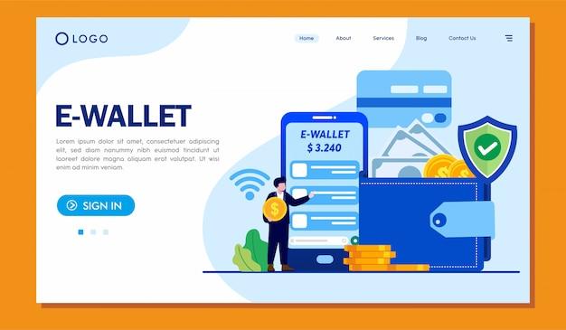 E-wallet landing page website illustrationsvorlage Premium Vektoren