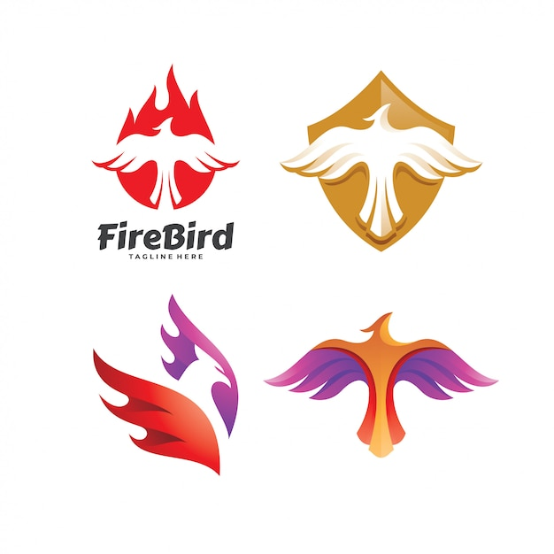 Eagle falcon bird phoenix logo set Premium Vektoren
