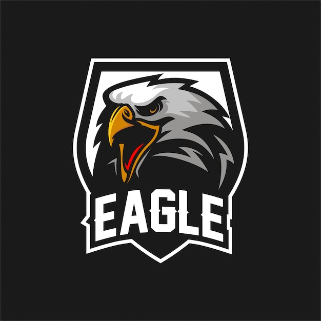 Eagle falke esport gaming maskottchen logo vorlage Premium Vektoren