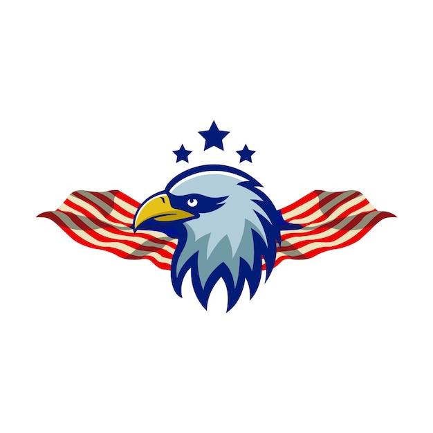 Eagle maskottchen logo illustration sport premium qualität sterne hintergrund flagge Premium Vektoren