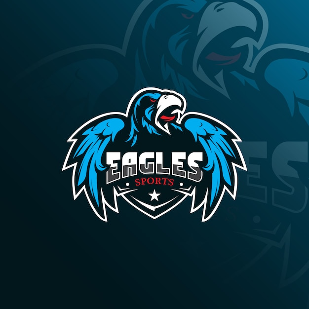 Eagle-maskottchen-logo mit modernem illustrationsstil für abzeichen-, emblem- und t-shirt-druck. Premium Vektoren