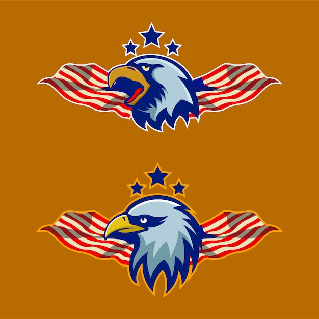 Eagle maskottchen sport element logo abbildung Premium Vektoren
