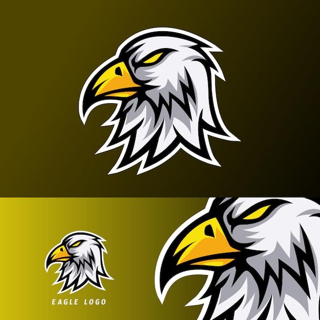 Eagle sport esport logo entwurfsvorlage mit weißem fell und orange schnabel Premium Vektoren